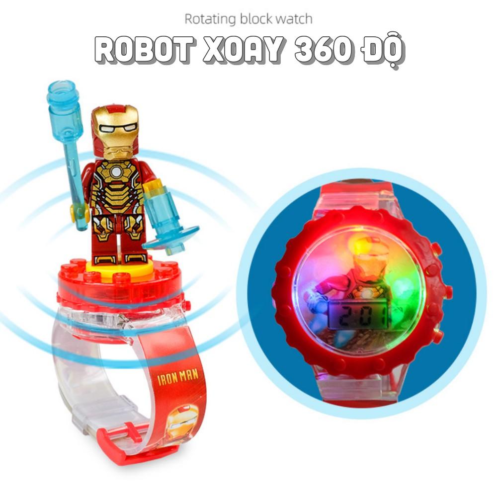 Đồng hồ đeo tay dây silicone bé trai xe đồ chơi siêu nhân xoay có nhạc và đèn kiêm đồng hồ
