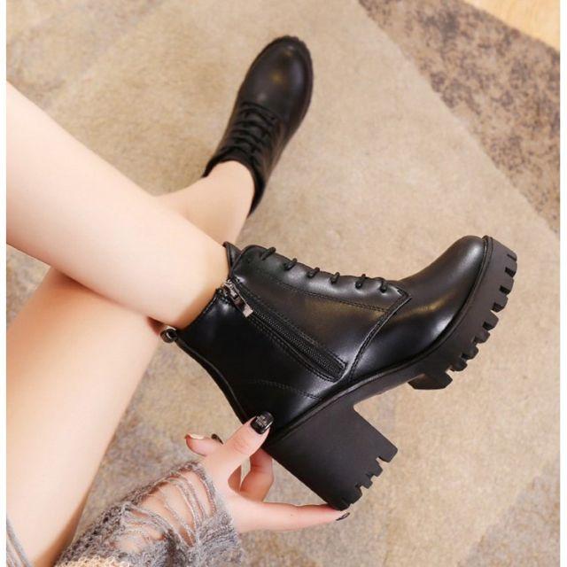 Giày boot đế thô 4 phân cột dây