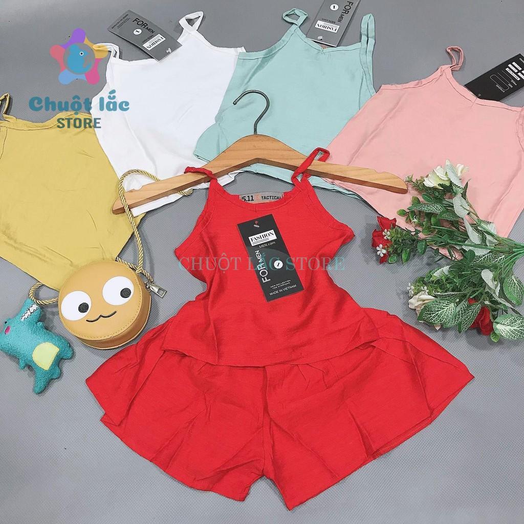 Bộ quần áo bé gái kiểu 2 dây quần ống rộng chất đũi tơ mềm mại cho bé từ 8kg đến 18kg( xanh, đỏ, trắng, vàng, hồng)
