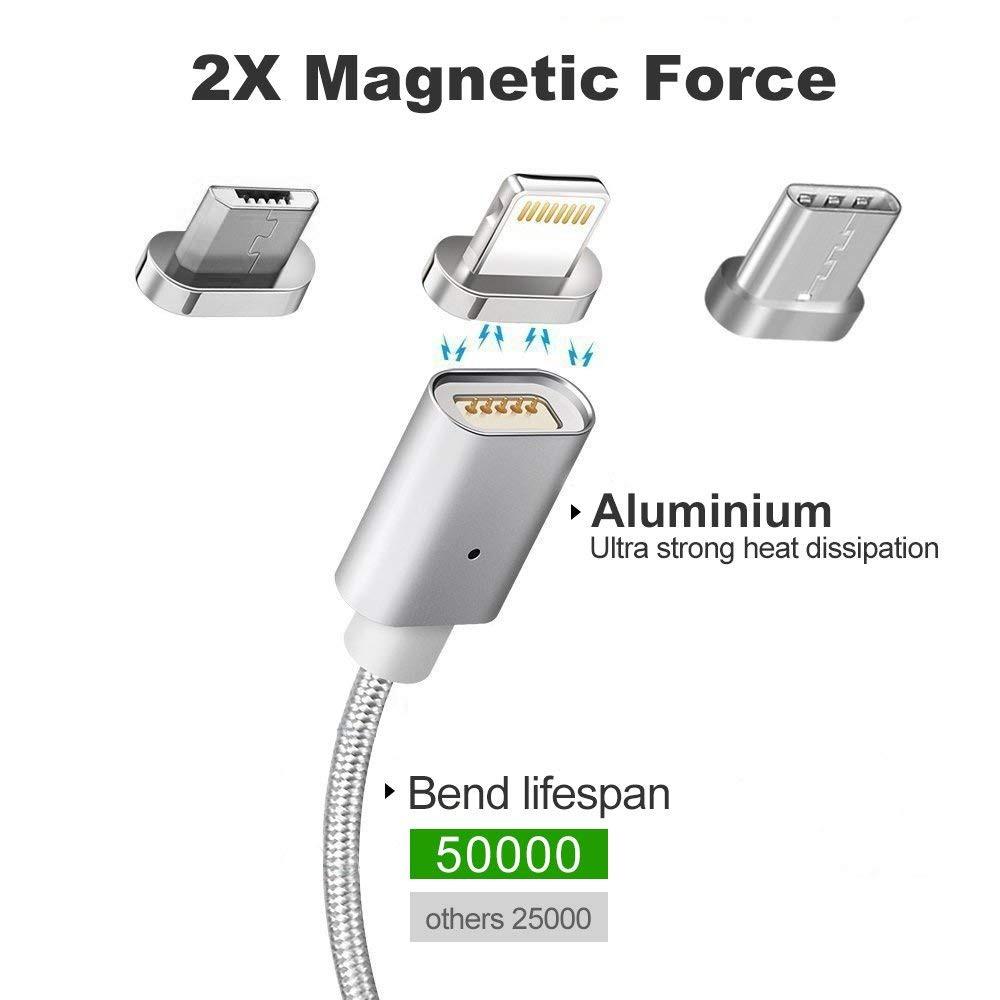 Dây cáp sạc USB từ tính 3 trong 1 tốc độ truyền dữ liệu cao cho hệ điều hành iOS Android