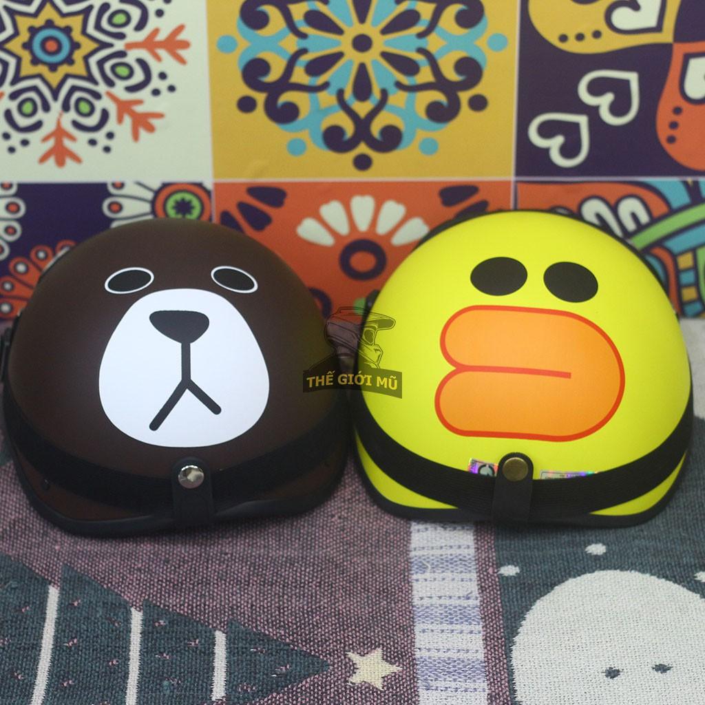 Combo Mũ Bảo Hiểm Đôi Siêu Cute Gấu Nâu + Vịt Vàng Loại Lót Đệm Cao Cấp ❤️Freeship❤️ | Mũ Nhựa ABS BH 12 Tháng