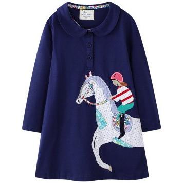 Váy chữ A dài tay bé gái Jumping Meters cao cấp màu xanh họa tiết cô gái cưỡi ngựa