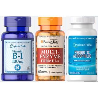 Combo tăng cân kích thích tiêu hóa Puritan Pride Probiotic acidophilus 100v, Multi enzyme 60 viên, B1 100mg 100 viên