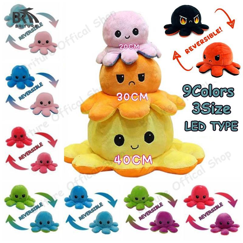 Bạch tuộc nhồi bông chuyển đổi cảm xúc 2 mặt khác nhau nhiều màu sắc tùy chọn