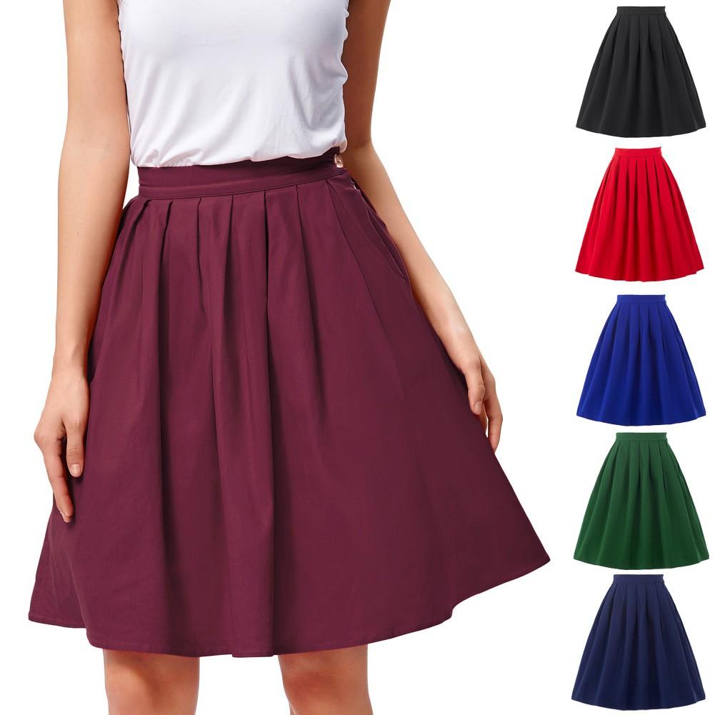 Chân váy Cotton ngắn màu trơn phong cách vintage