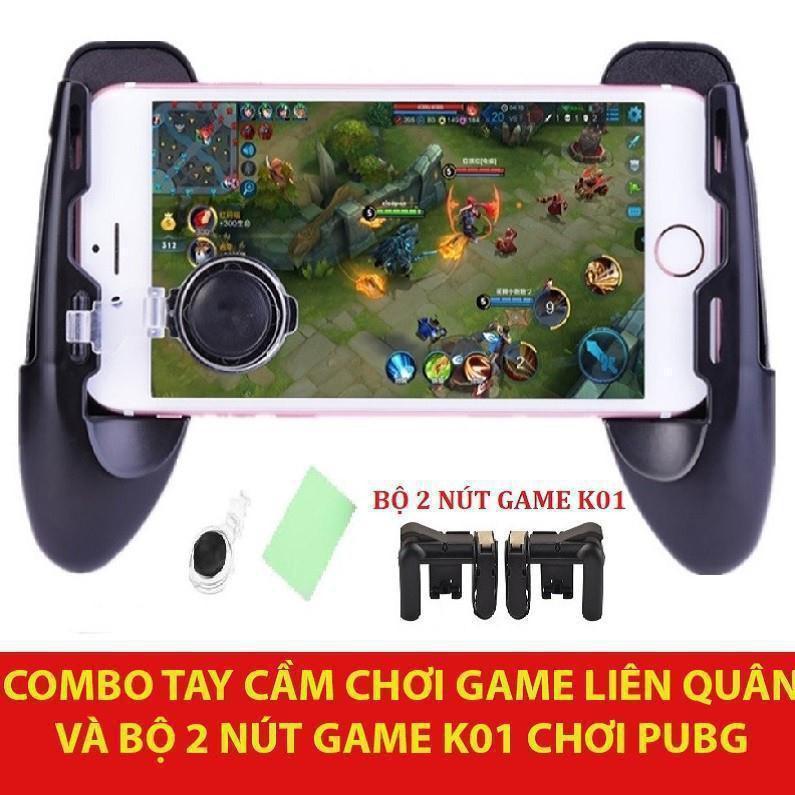 [HÀNG CÓ SẴN] [ [Giá hủy diệt] Combo Tay cầm Chơi Game Liên Quân PUBG ROS và Bộ 2 nút bấm hỗ trợ chơi PUBG K01