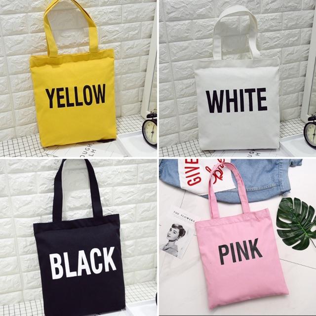 Túi tone vải 4 màu yellow, white, black, pink thời trang