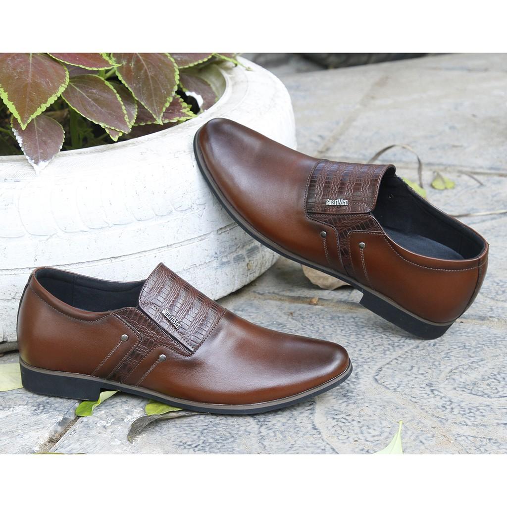 Giày da công sở tăng chiều cao Smartmen GL2-01-N (NÂU)