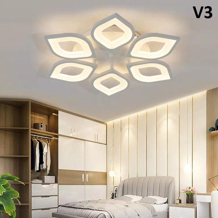 [BH 12 THÁNG] Đèn mâm ốp trần trang trí phòng khách, phòng ngủ - đèn ốp trần hiện đại cánh 3 chế độ sáng kèm điều khiển