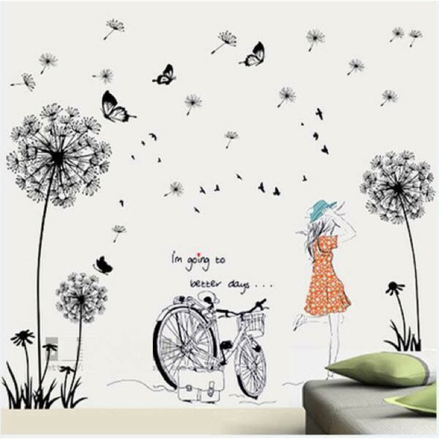 Decal dán tường bồ công anh + cô gái và xe đạp