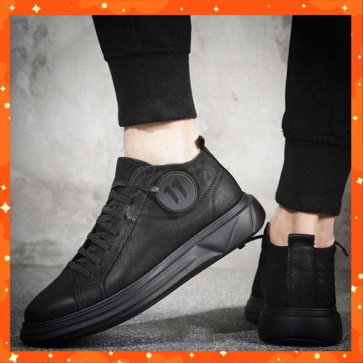 Giày Thể Thao Nam Cao Cấp - Giầy Sneaker Da Nguyên Tấm, Đế Cao Su, Tăng Chiều Cao GDN03