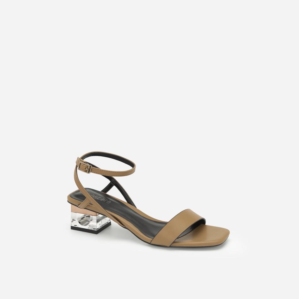 Vascara - Giày Sandal Gót Trụ 2 Tầng Crystal - SDN 0651 - Màu Be Ā