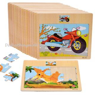 SỈ LẺ GIÁ TỐT Tranh puzzle gỗ ghép 12 mảnh kèm hình mẫu phía trên