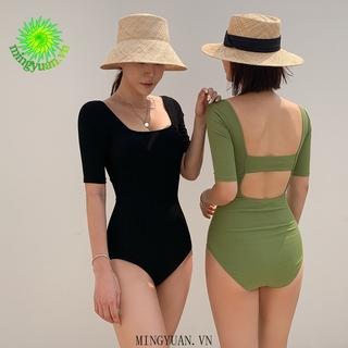 [mingyuan] 2020 Korean version of the new thin simple one-piece swimsuit beautiful fashion simple small square back beautiful small fresh bikini small breasts thumbnail