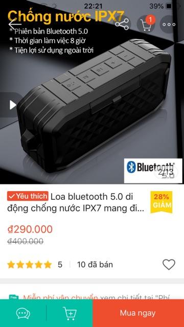 Loa Bluetooth 5.0 Chống nước IPX7 loabluetooth siêu Bass