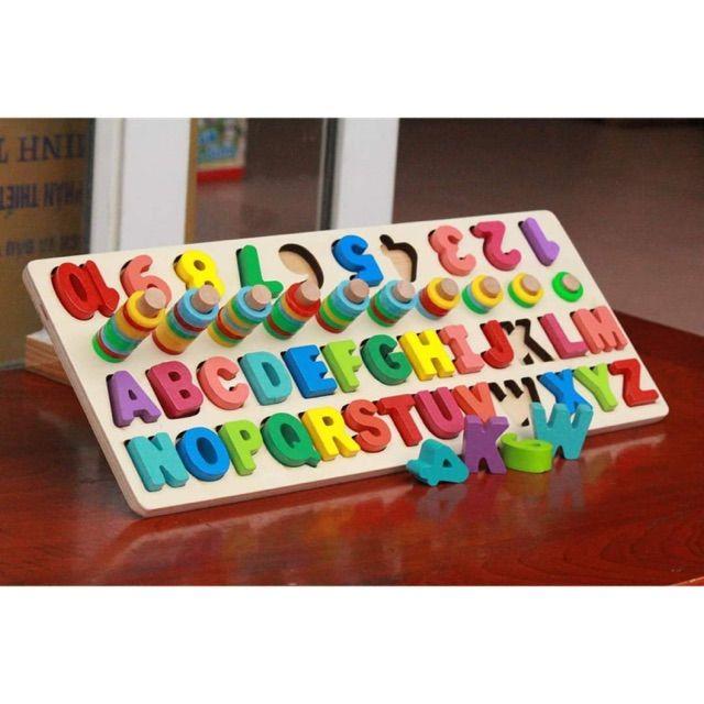 Đồ chơi gỗ – Cột tính học đếm và ghép chữ bằng gỗ