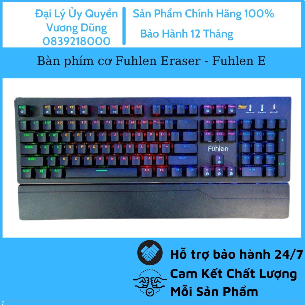 Bàn phím cơ Fuhlen Eraser - Fuhlen E, Blue Switch, Led Rainbow 7 màu ( Chính hãng NINZA phân phối )