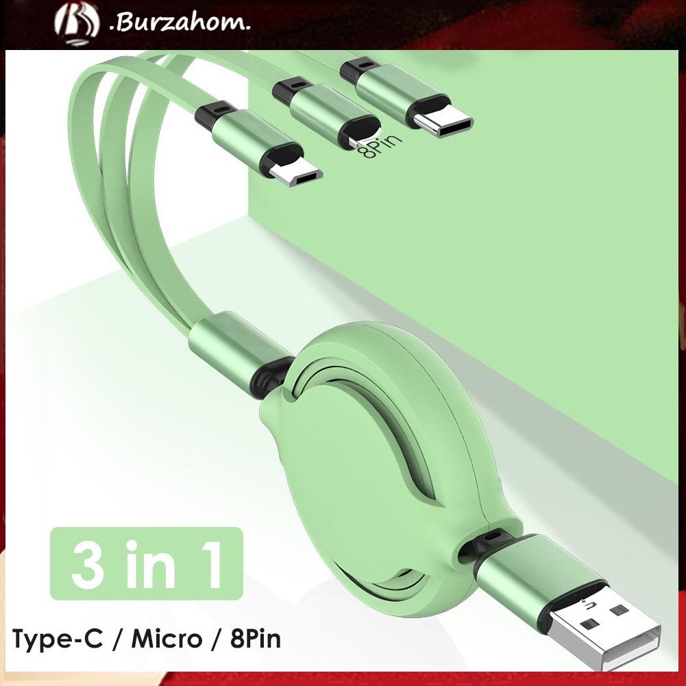 Dây Cáp Sạc Nhanh Và Truyền Dữ Liệu Micro Usb Loại C 8pin 3a 3 Trong 1 Tiện Dụng