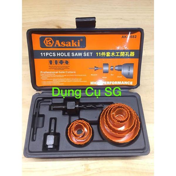 Bộ khoét lỗ gỗ và thạch cao ASAKI AK-3682 11 chi tiết