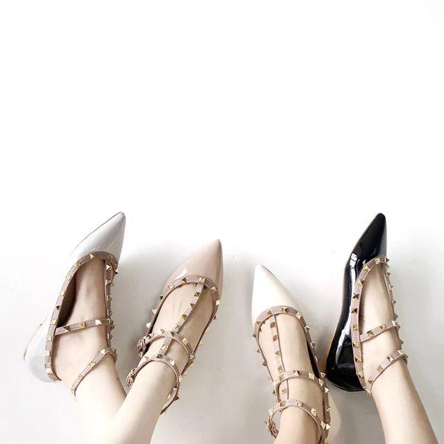 [CÓ SẴN] Giày bệt da bóng nạm đinh mũi nhọn (kiểu valen