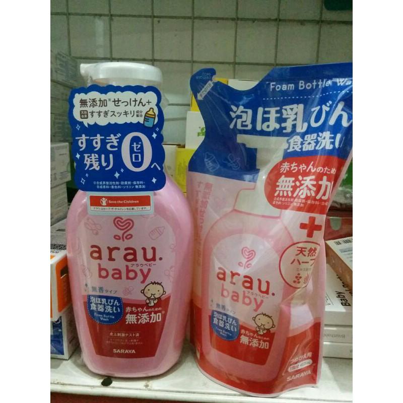 Combo Nước rửa bình Arau baby dạng chai 500ml và túi thay thế 450ml