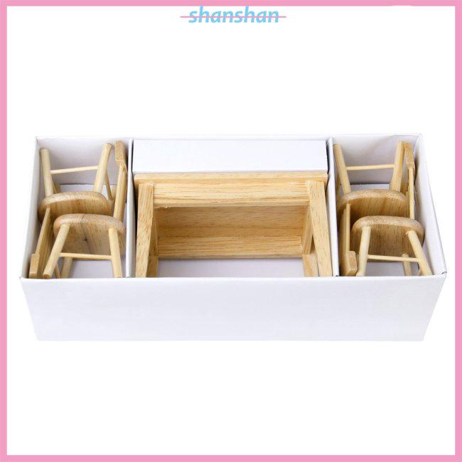 5pcs Miniature Dining Table Chair Wooden Furniture Set for 1:12 Dollhouse—Wooden Color