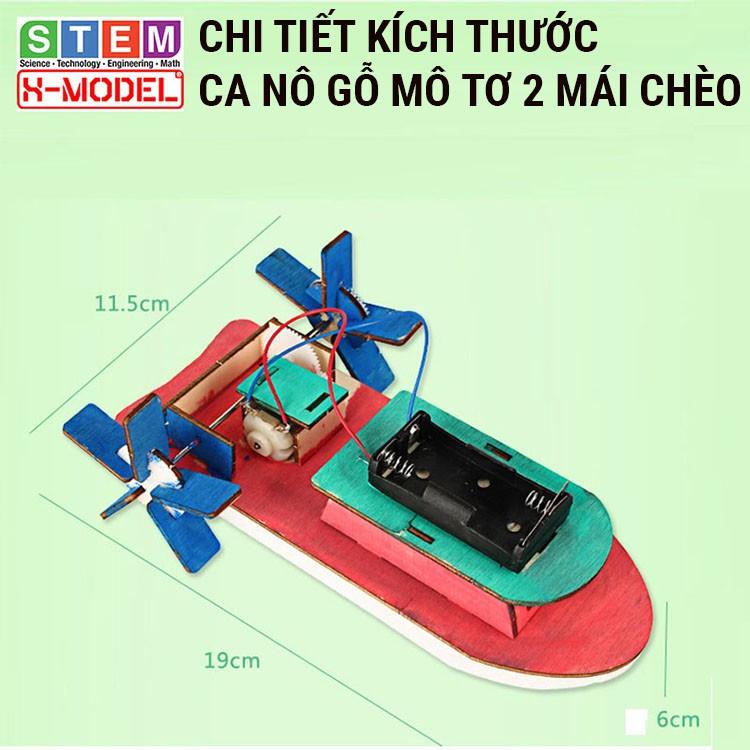 Đồ chơi sáng tạo STEM Ca nô gỗ mô tơ mái chèo X-MODEL ST68 đi được trên nước cho bé,...
