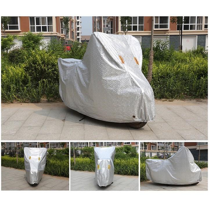 Bạt phủ xe máy tráng nhôm chất lượng tốt, chống mưa nắng, bụi bẩn, vải dù pha nilon chống thấm tuyệt đối, áo trùm cả xe
