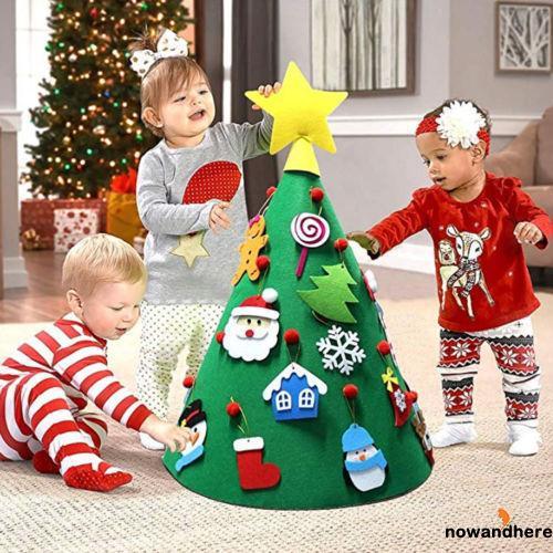 HNO-DIY Felt Toddler Christmas Tree New Year Kids Gifts Toys Playtime Kids Tree