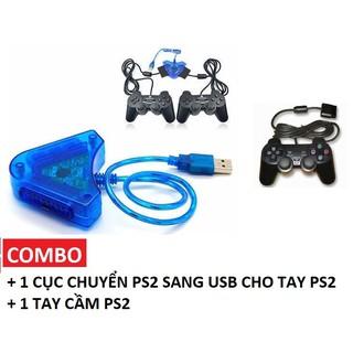 Combo 1 tay game PS2 Kèm 1 Cáp chuyển đổi cho tay cầm máy PS2 sang USB dùng trên máy tính
