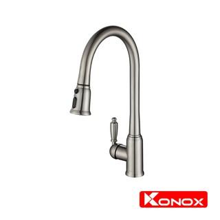 Vỏi rửa bát rút dây KONOX KN1905 hợp kim đồng 61% tiêu chuẩn Châu Âu CW617N, bề mặt xử lý công nghệ PVD Chrome 5 lớp