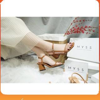 PAMELA - Giày Sandal 5p Quai Mảnh Gót Vuông Da PU Mềm Kiểu Dáng Công Sở - S23