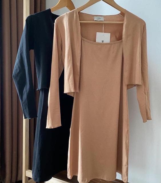 💃 Bộ Váy 2 Dây Áo Khoác Dài Tay Set Đầm Nữ Dáng Ngắn Kèm Áo Cardigan Mỏng 2 Màu