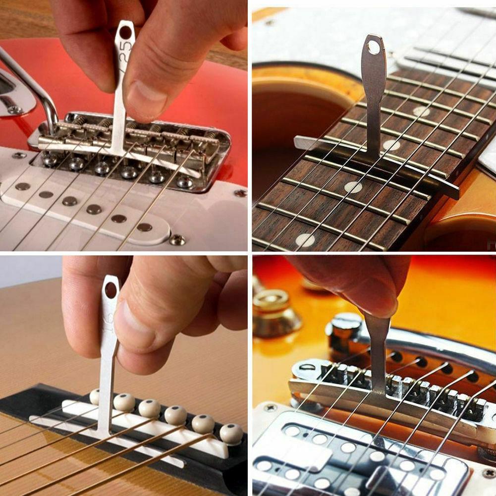 9pcs Electric Radius Gauge Set Guitar Bass Fingerboard Luthier Tool Acoustic Understring String Repair Steel Feeler