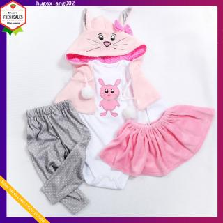 Cute Cartoon Cotton Hooded Clothing Set for 45~47CM Doll Toy