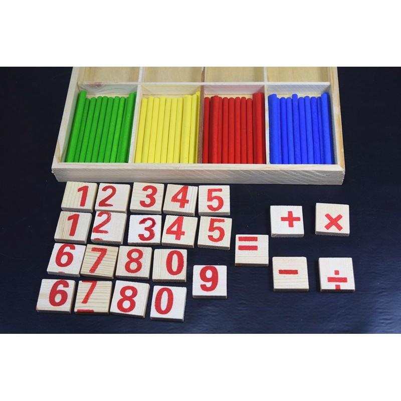 [HOT] Bộ đồ chơi toán học có que tính và số gỗ, thỏa sức cho bé học tập