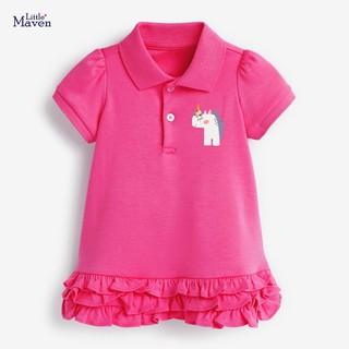 Váy Polo Little Maven váy thun cotton hồng Pony