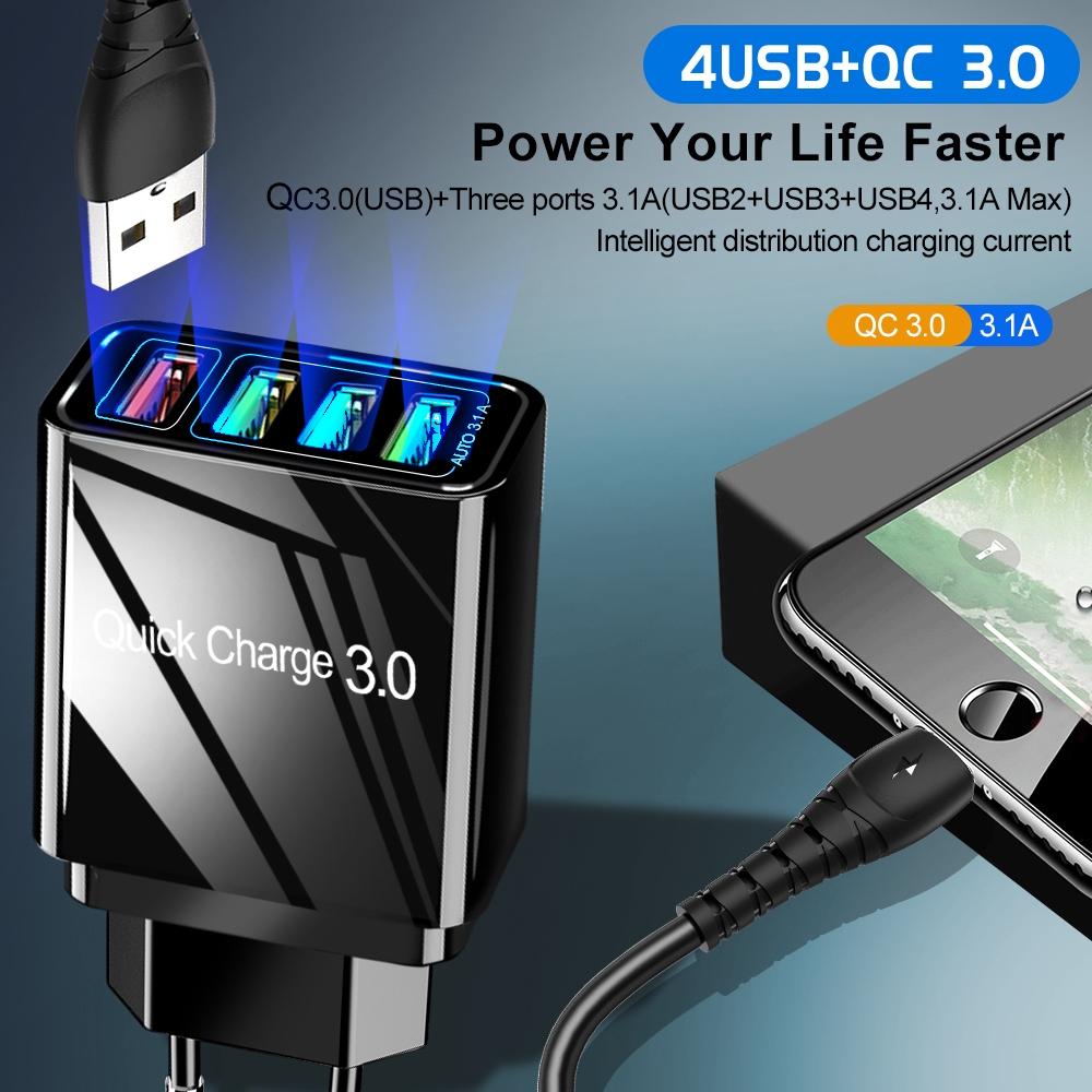 Củ sạc nhanh 4 cổng USB 3.0 tiện lợi