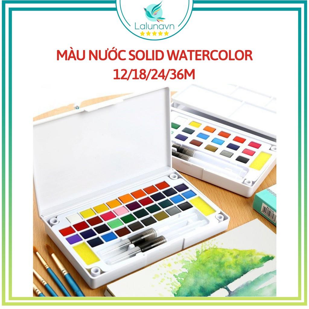 Bộ Màu Nước Solid Water Color Cao Cấp 12/18/24/36 Màu Tặng 2 Bút Nước, 2 Mút, 1 Palette