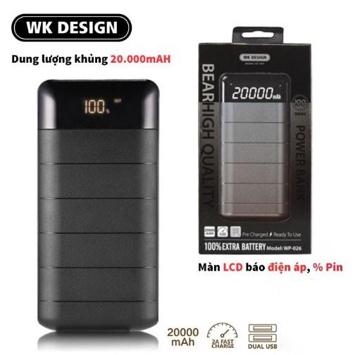 Pin sạc dự phòng WK Design WP 026 Bear 20000mAh - Tích hợp màn hình LCD hiển thị phần trăm pin - Chip thông minh tự ngắt