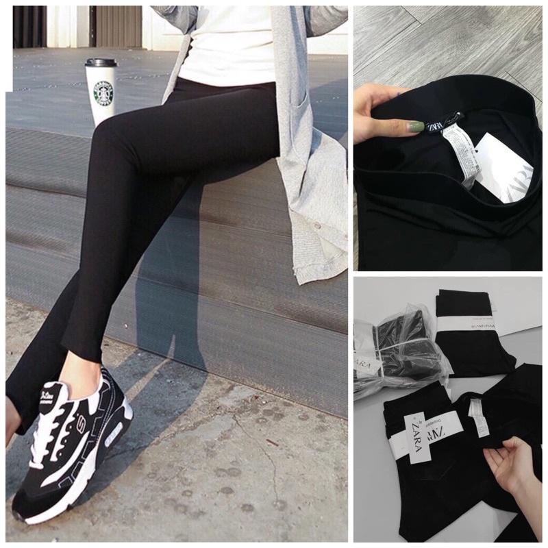 Quần legging dài nữ Za.Ra cạp cao gen bụng chất liệu cotton hàn cao cấp