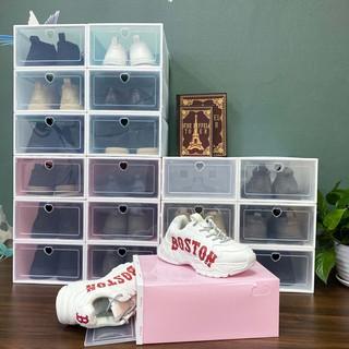 Combo 10 hộp đựng giày nắp nhựa cứng trong suốt, chịu lực 8kg size to, tặng gói hút ẩm.