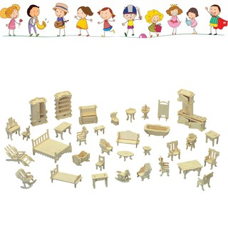 FH 34Pcs Miniature 1:12 Dollhouse Furniture for Dolls Mini DIY 3D Wooden Toys