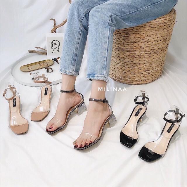 [Mã FASHIONGREEN15 giảm 10% tối đa 30k đơn từ 99k] Giày sandanl gót bọc đồng quai trong siêu xinh gót 5p