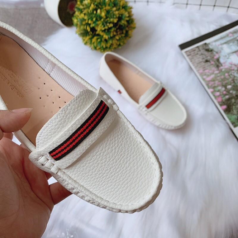 (Bán giá sỉ] Giày nữ đế bệt da sần chun kẻ phom nhỏ ôm chân (mã đế hột)