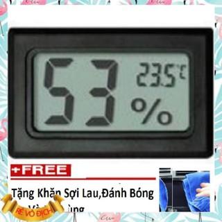 Nhiệt kế điện tử ❤️FREESHIP❤️ 🚛 Nhiệt Kế Điện Tử,Đồng hồ đo nhiệt độ và độ ẩm 206214 (đen) +🎁 khăn lau đa năng