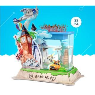 Bể cá cảnh mini trang trí bằng khung hình 3D Vòng quanh Thế giới của Robotime (BBT-19.2)
