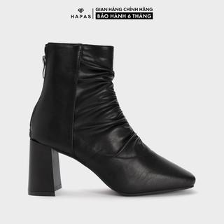 Giày Bốt Nữ Boot Nhăn Gót Khoá 7phân HAPAS - BOT734