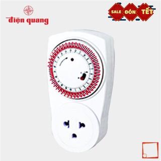 [Hàng chính hãng] Ổ cắm hẹn giờ Điện Quang ĐQ ESK MT03 WR 13 (Điều chỉnh cơ, 1 lỗ – 3 chấu, trắng – đỏ)