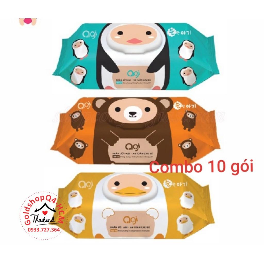 (HCM, HSD 2023) Combo 10 gói khăn ướt Agi ko mùi 100 tờ